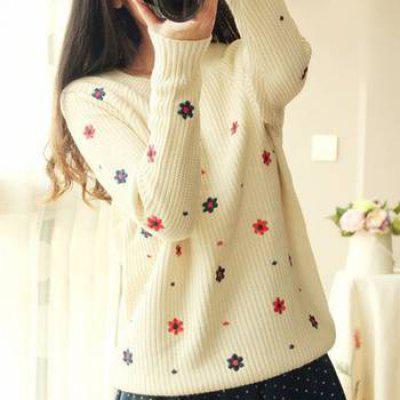 O-Neck Embroidered Sweater