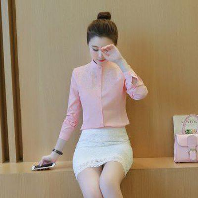 Slim Coat Embroidered Cotton Shirt Blouse Simple Capable