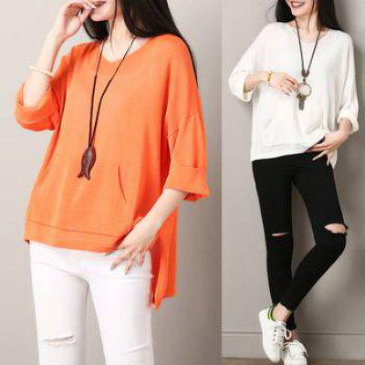 Real Silk Knitted Sweater Female T-shirt Thin Loose Version Shirt Large Jacket.