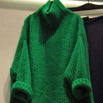 Knitted Pullover Turtleneck Loose Batwing Sleeve Thicken Warm Sweater