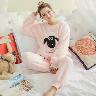 Arrivals Flannel Pajama Sets Cartoon Animal Thick Bundle Plush Pijama Costume Nightgown Sleepsuit Pyjamas