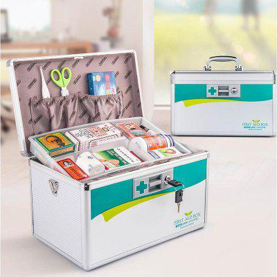 Portable First-aid Alloy Safe Medicine Box 14 inch Household Medical Kit