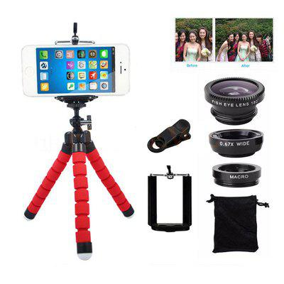 Fish Eye Lens Wide Angle Macro Lenses with Flexible Rotation Phone Tripod Holder Set