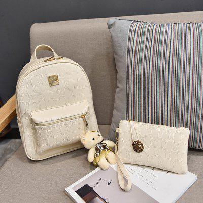 PU Leather Composite Bags Casual Handbag Shoulder Messenger Crossbody Bag Clutch Set 4 Pcs