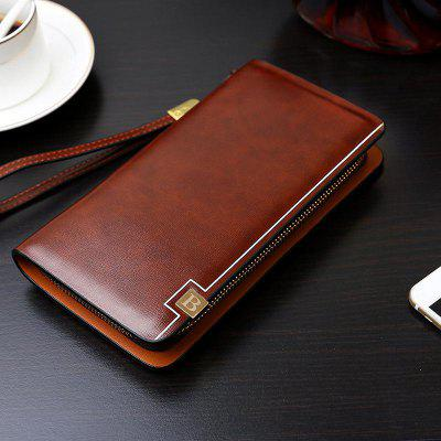 Men Business Vertical Section Grasping Zipper Wallets