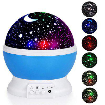 Baby Nursery Night Light Battery LED Rotating Creative Projector Lamp with USB Cable