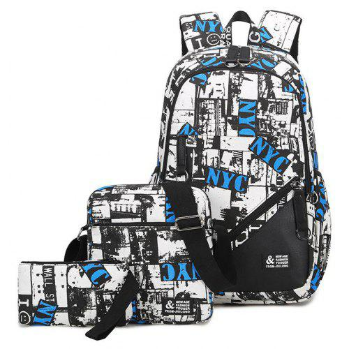 Three Piece Leisure Backpack High School Bag Single Shoulder Fashion  Printing Male Package Factory Direct -  20.46 Free Shipping 08e3fab792fff