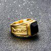 Stainless Steel Men's Vacuum Plating Gold Diamond Rings - BLACK