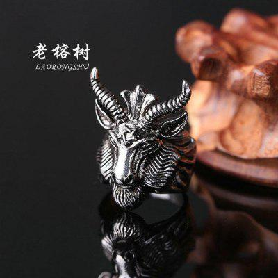 Black Goat Satan Sheep Head Five Mans Constellation Male Character Ring Creative Year Of Life Titanium Steel
