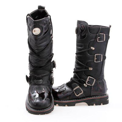 Men Leather Buckle Strap Outside Combat Uniform Boots Steampunk Shoes