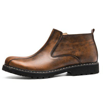 Retro Leather Martin Boots Zip Ankle Vintage Casual Shoes for Men