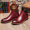 Men'S Chelsea Boots Men Flats Classic High Upper Genuine Leather Boot Carved Trend Of All-Match Casual Shoes - RED WINE