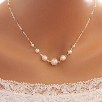 Retro Simple Beaded Pearl Single Layer Necklace