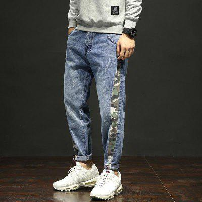 Large Fashion Tide Brand Irregular Jeans Male Stitching Camouflage Europe The United States Ins Harlan Pants