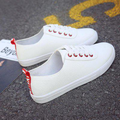 White PU Rubber Leisure Plate Shoes Comfy Lace-up Sneakers
