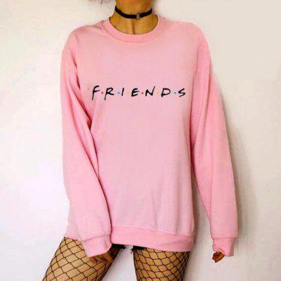 The Friends Letter Pattern Round Neck Long Sleeves