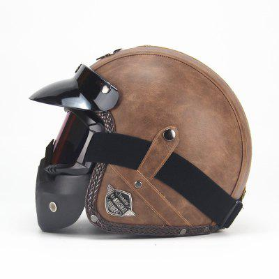 adult leather harley helmetsmask detachable goggles and mouth filter perfect vintage motorcycle helmet open face motorcycle Four Seasons Vintage Helmet Handmade Personality Retro Harley Helmet Motorcycle Motor Car 3/4 Leather Helmet Half Helmet Men And Women