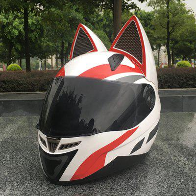 Cat Ear With Angle Helmet NITRINOS Motorcycle Full Face Pink Yellow