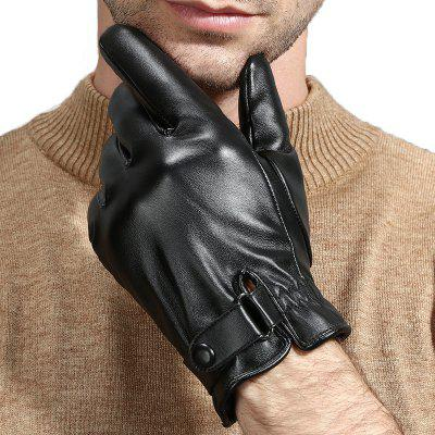 Leather Gloves Men Winter Warm Plus Velvet Thickening Driving Cycling Anti-skid Windproof Tram PU Touch Screen Gloves Men