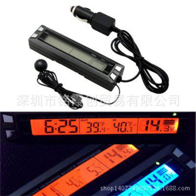 CT20 Car Electronic Clock Thermometer Car Luminous Clock Outlet Temperature Table Backlight