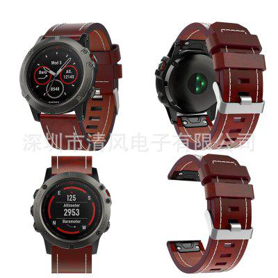 Quick Release Leather Watch Band Strap for Garmin Fenix 5X