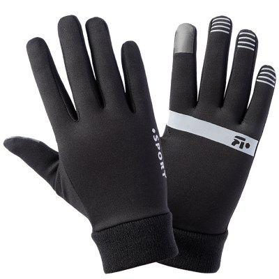 Winter Outdoor Warm Gloves For Men And Women All Fingers Fleece Windproof Sports Running Riding Football Fishing Non-slip