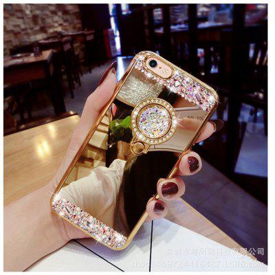 Mobile Phone Shell Plated Mirror Rhinestone Protective Cover for iPhone X  /7 / 8 / 6splus