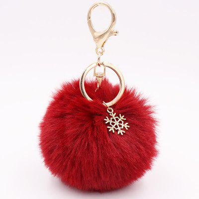 New Christmas Snowflake Plush Keychain Alloy Snowflake Christmas Hair Ball Pendant Bag Keychain