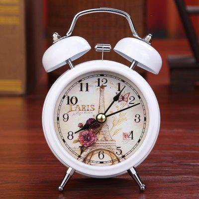 European Retro Metal Ringing Alarm Clock with Light