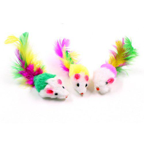 5A05 Plush Mouse Cat Pet Funny Toy with Colored Tail Small Mouse 2 inch