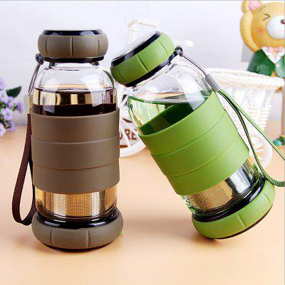 Creative Shatter-resistant Tea Water Separation Glass Double Cover Cute Large Capacity Water Cup