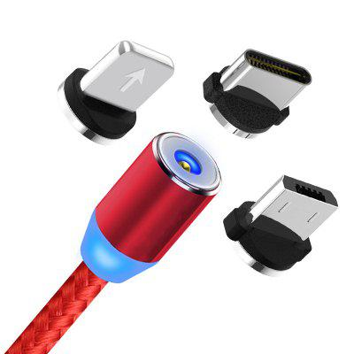 Gearbest Magnetic Data Cable Three-in-one 360 ​​degree Round Nylon Charging Cable for Type - C / Android - RED LINE THREE HEADS (ANDROID + APPLE + TYPE C HEAD) (2 METERS) 32
