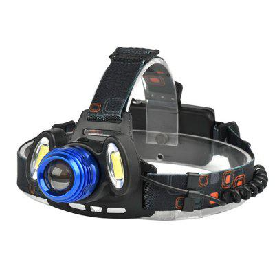 Adjustable Focus T6+COB Long-range Strong Head Light Three Lights Night Fishing Hunting Headlights New Head-mounted Flashlight