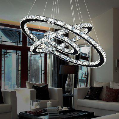 Torch Led Crystal Dining Room Chandelier Simple Modern Living Three Layer Circle Hanging Lamps