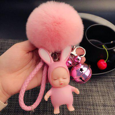 Cute Bear Sleeping Cute Doll Brelok kreatywny silikonowy lalka Car Key Chain Hair Ball wisiorek