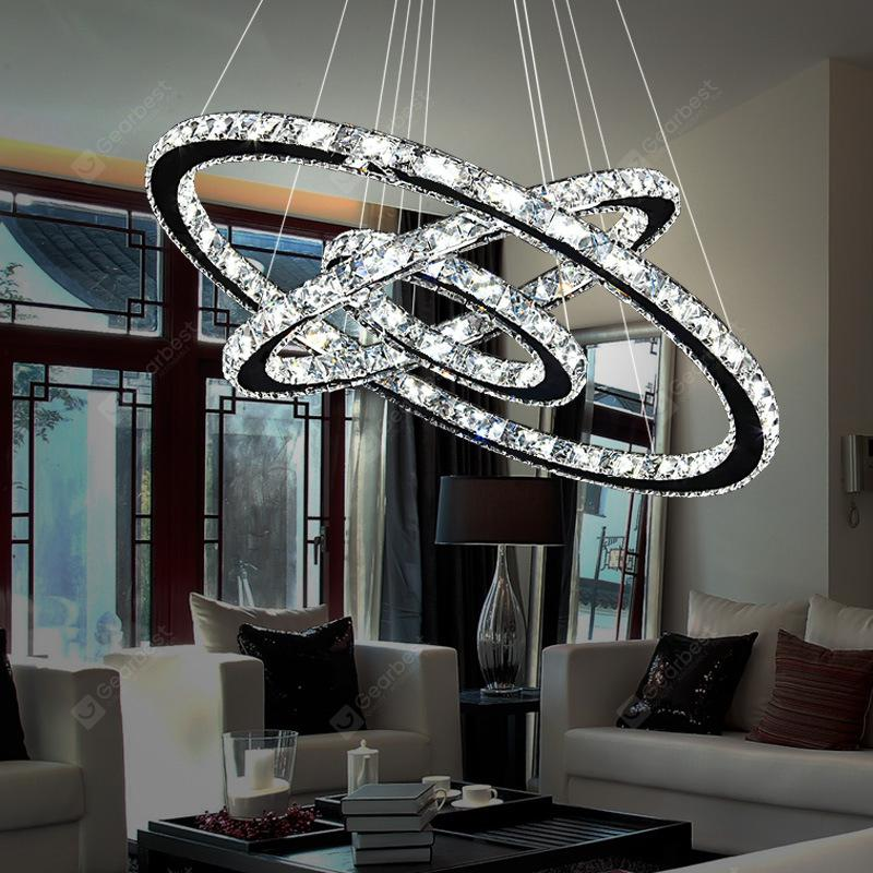 Torch LED Crystal Dining Room Chandelier Simple Modern Living Room Dining  Room Three-layer Circle Hanging Lamps
