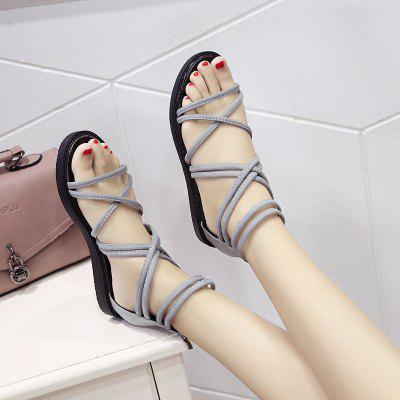 Summer New Korean Fashion Sandals Female Flat Student Flat Back Zipper Open Toe Casual Female