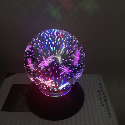 Christmas 3D Colorful Magic Glass Cover Light USB Automatic Rotating Battery LED Magic Meteor Colorful Night Light