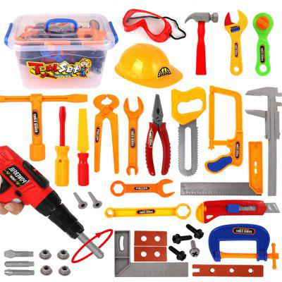 Children's Simulation Play House Toy Toolbox Electric Drill Helmet Set Maintenance Tool Toy