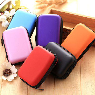 Square Headphone Storage Bag Mobile Phone Data Cable Charger Storage Box Headset Bag Solid Color Coin Purse