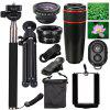 Three in One Fisheye Wide Angle Telephoto Lens Macro Telescope Head Selfie Stick - [12X BLACK] 10 IN 1 SET