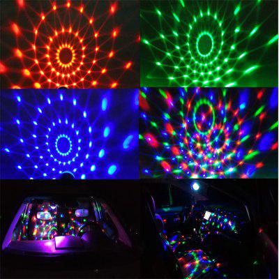 Voiture DJ Lampe USB Contrôle vocal Mini LED 3W Rotation colorée Cristal Magic Magic Light Télécommande
