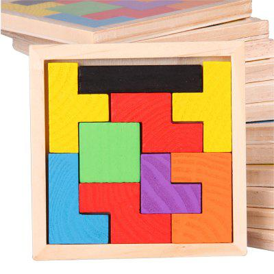 Children's Educational Wooden Color Blocks Thinking Hands-on Ability Training Russian Geometric Squares