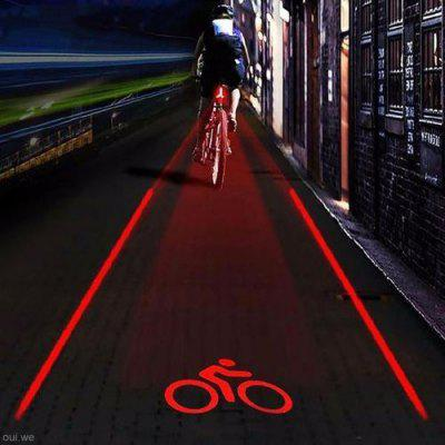 Cycling Bike Bicycle 2 Laser Projector Red Lamps Beam and 5 LED Rear Tail Lights