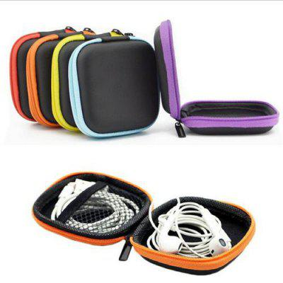 Square Earphone Storage Bag Carrying Case for Earbuds USB Cords Phone Chargers