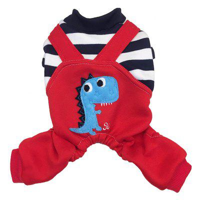 Winter Pet Clothing Dog Autumn Winter Cat Dog Clothes Dinosaur Bib Four Feet Thick