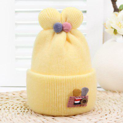 Button Rabbit Ears Wool Hat Baby Warm Protection Hat