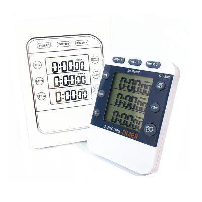 YS - 382 Three-channel Timer Timer Experimental Countdown Stopwatch Clock Kitchen Timer