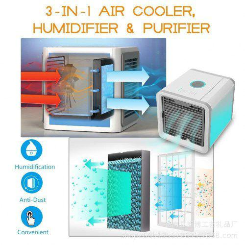 Air Cooler Household Cooler LED Cooling Fan Mini Air Conditioning Fan USB  Humidifier