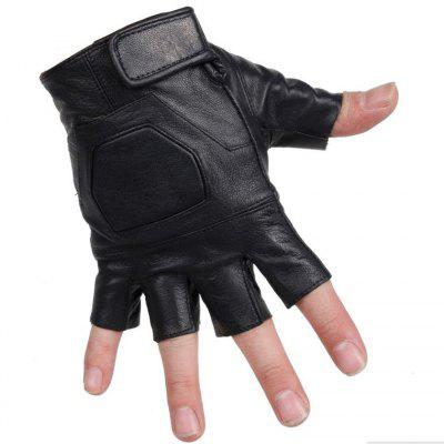 Leather Half Finger Gloves Sheepskin Dew Tactical Gloves Outdoor Sports Riding Thick Leather Gloves